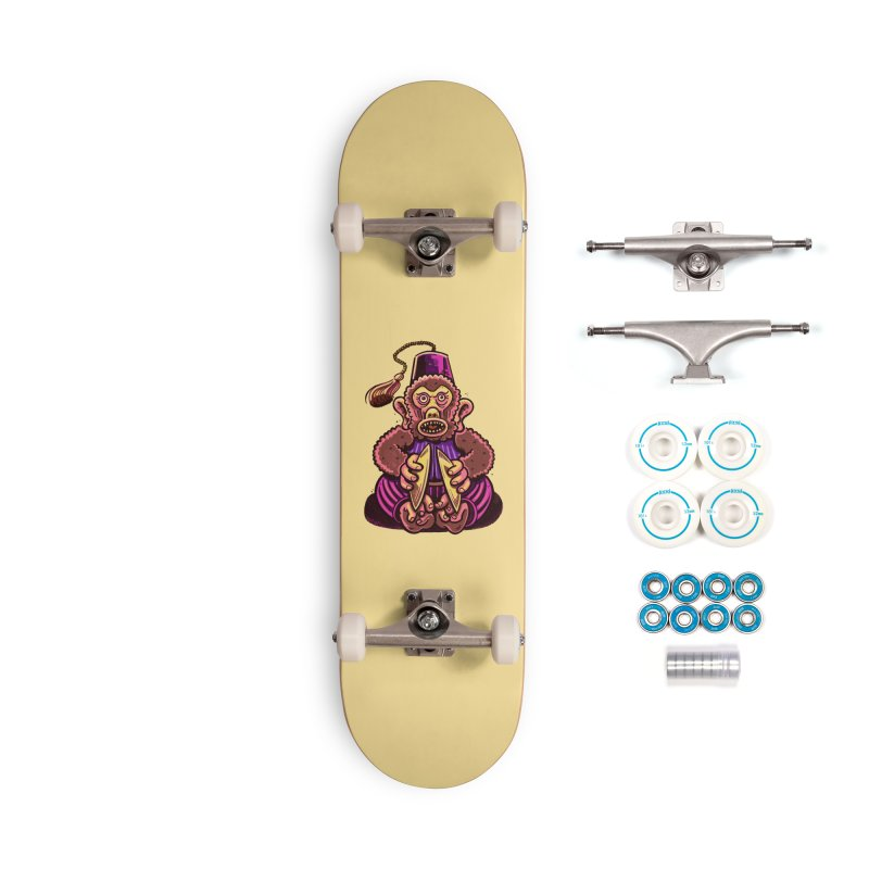 Cymbal Monkeys Are Creepy Accessories Skateboard by Illustrator and Designer Alan Defibaugh