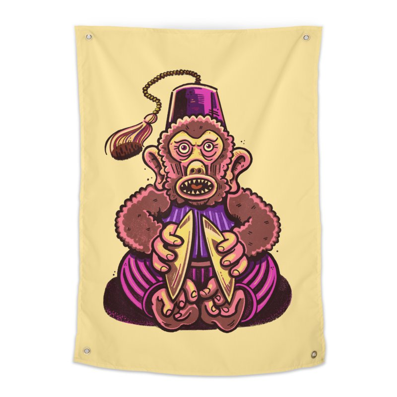 Cymbal Monkeys Are Creepy Home Tapestry by Illustrator and Designer Alan Defibaugh