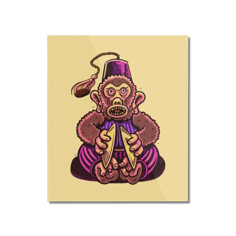 Cymbal Monkeys Are Creepy Home Mounted Acrylic Print by Illustrator and Designer Alan Defibaugh