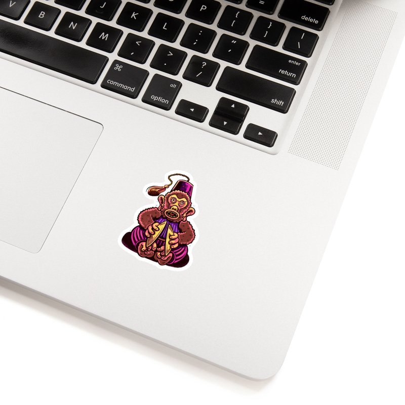 Cymbal Monkeys Are Creepy Accessories Sticker by Illustrator and Designer Alan Defibaugh