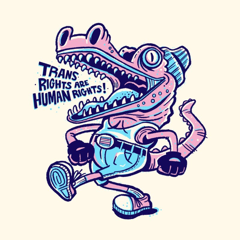 Trans Rights Are Human Rights Crocogator Home Blanket by Illustrator and Designer Alan Defibaugh