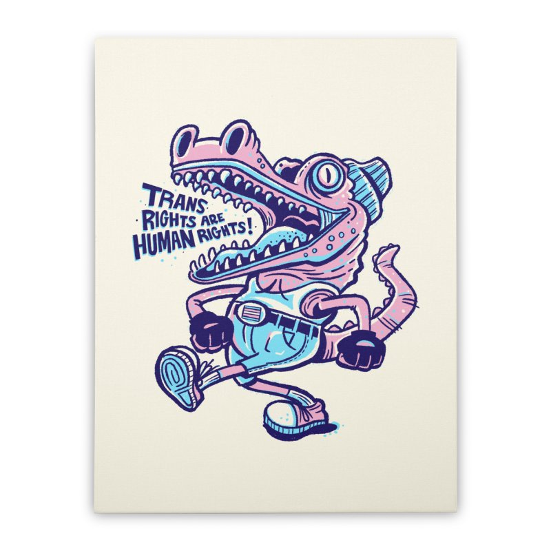 Trans Rights Are Human Rights Crocogator Home Stretched Canvas by Illustrator and Designer Alan Defibaugh