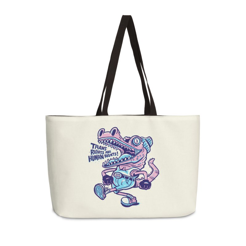 Trans Rights Are Human Rights Crocogator Accessories Bag by Illustrator and Designer Alan Defibaugh