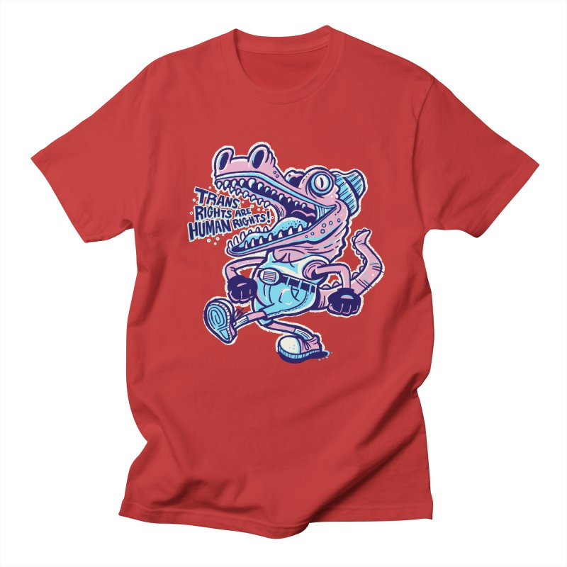 Trans Rights Are Human Rights Crocogator Men's T-Shirt by Illustrator and Designer Alan Defibaugh