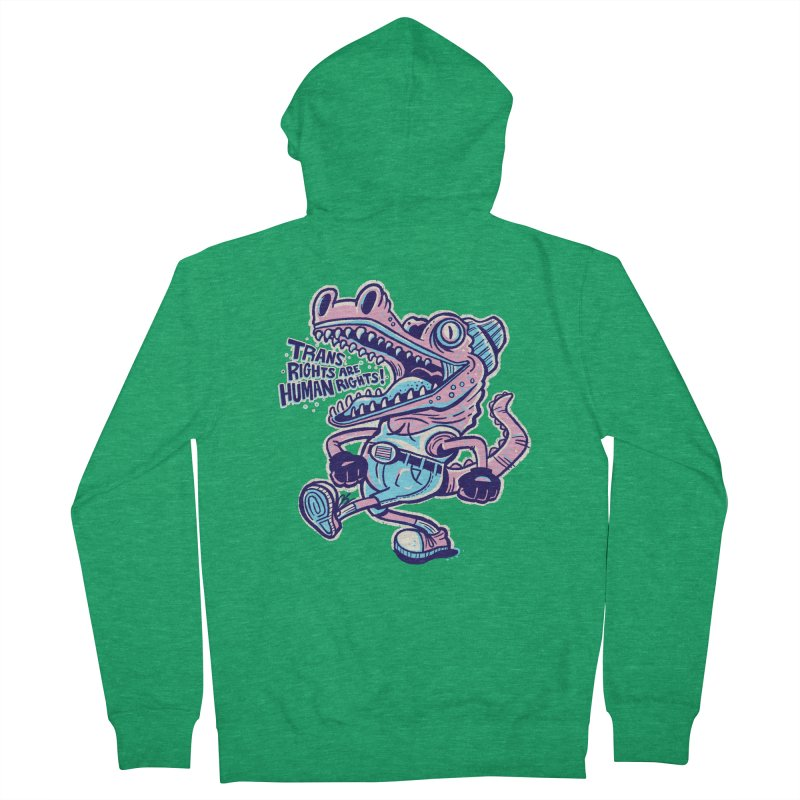 Trans Rights Are Human Rights Crocogator Men's Zip-Up Hoody by Illustrator and Designer Alan Defibaugh