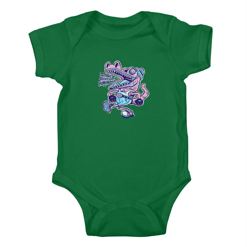 Trans Rights Are Human Rights Crocogator Kids Baby Bodysuit by Illustrator and Designer Alan Defibaugh