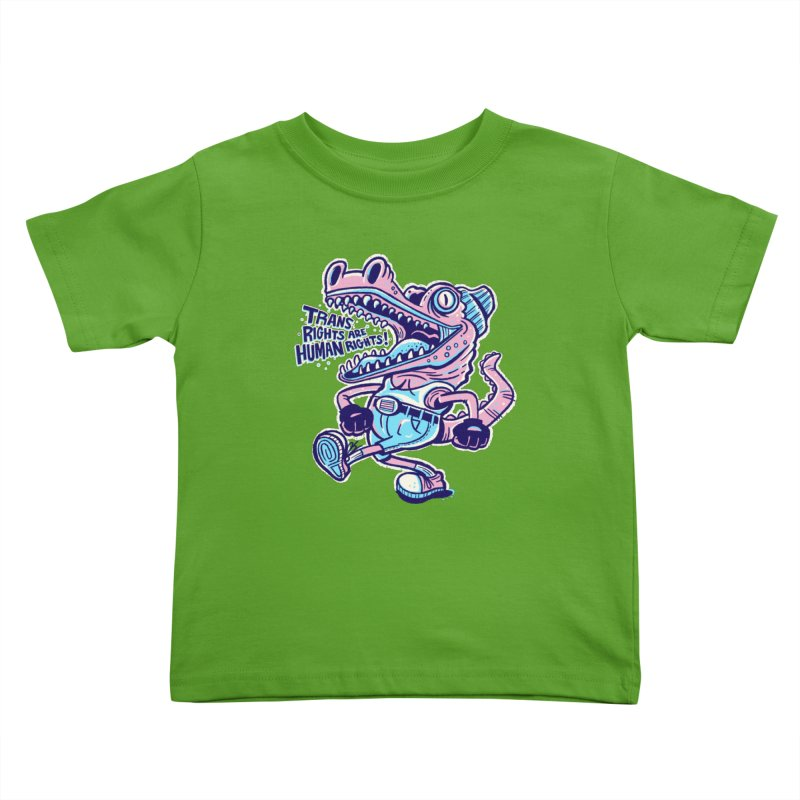 Trans Rights Are Human Rights Crocogator Kids Toddler T-Shirt by Illustrator and Designer Alan Defibaugh