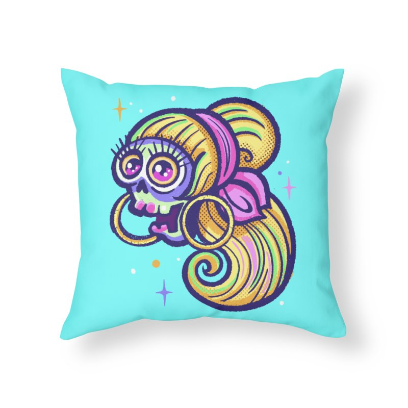 Skull with Blonde Wig and Pink Bandana Home Throw Pillow by Illustrator and Designer Alan Defibaugh