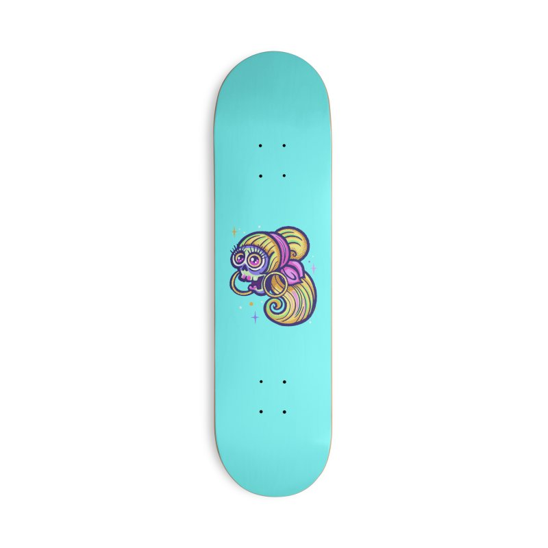 Skull with Blonde Wig and Pink Bandana Accessories Skateboard by Illustrator and Designer Alan Defibaugh