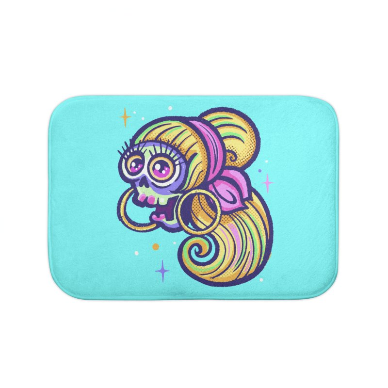 Skull with Blonde Wig and Pink Bandana Home Bath Mat by Illustrator and Designer Alan Defibaugh