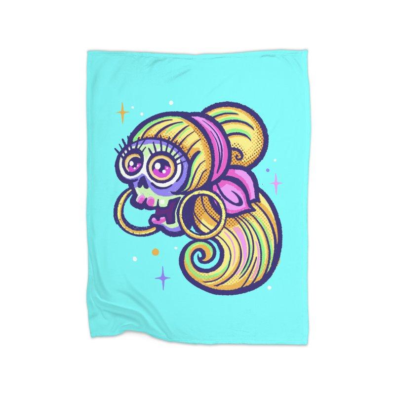 Skull with Blonde Wig and Pink Bandana Home Blanket by Illustrator and Designer Alan Defibaugh