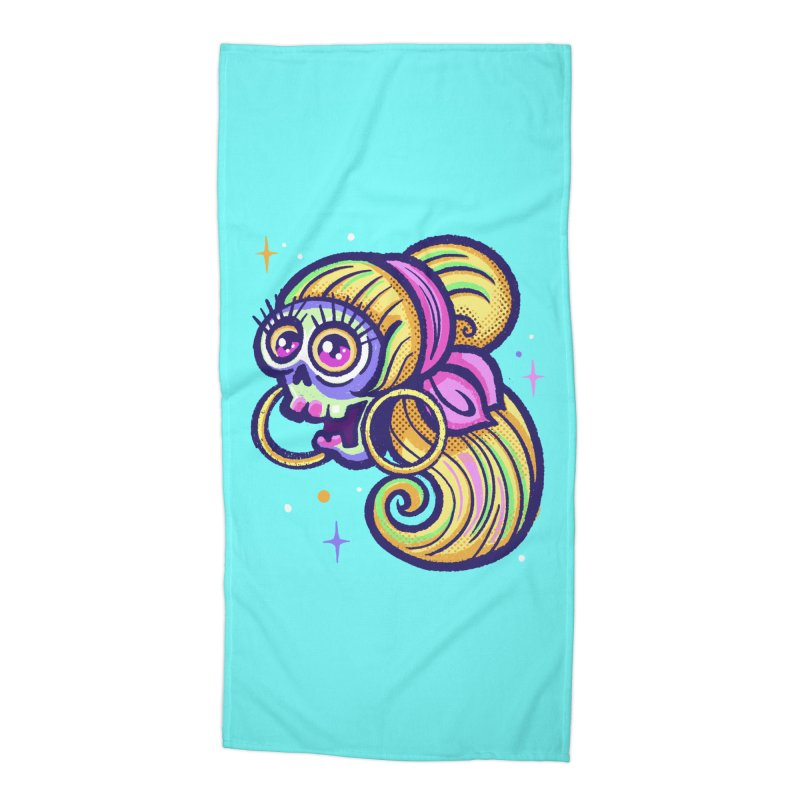 Skull with Blonde Wig and Pink Bandana Accessories Beach Towel by Illustrator and Designer Alan Defibaugh