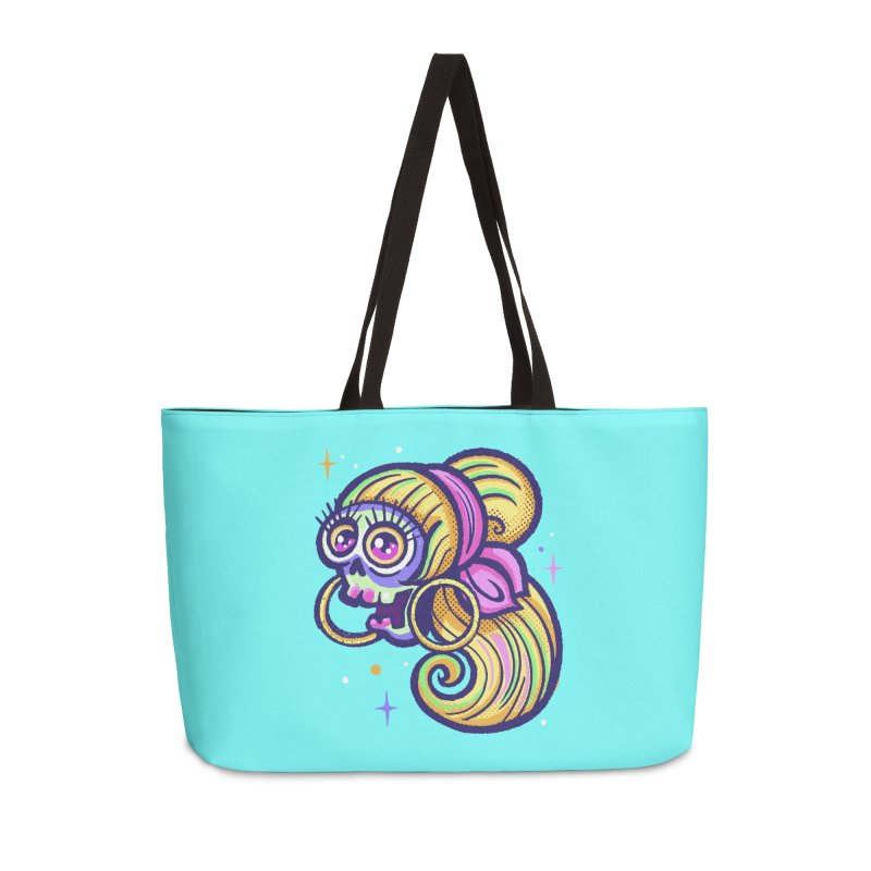 Skull with Blonde Wig and Pink Bandana Accessories Bag by Illustrator and Designer Alan Defibaugh