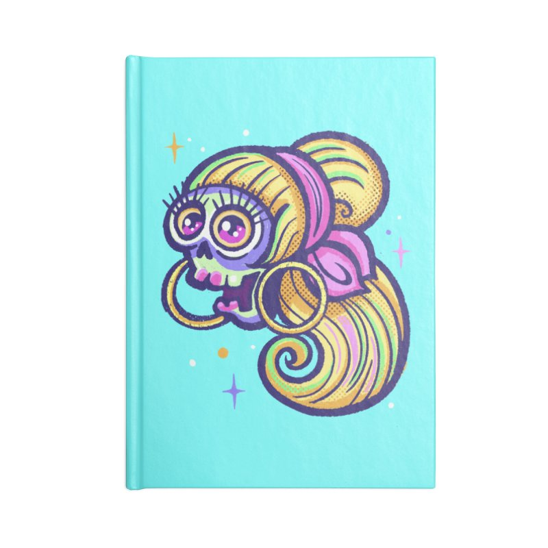 Skull with Blonde Wig and Pink Bandana Accessories Notebook by Illustrator and Designer Alan Defibaugh