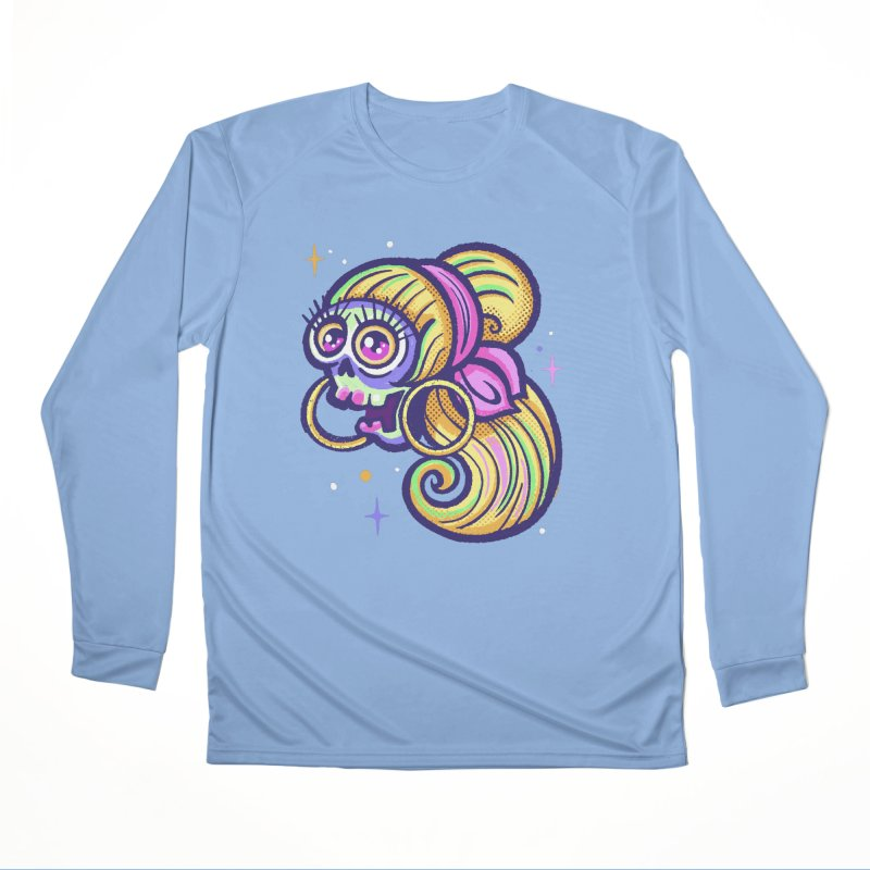 Skull with Blonde Wig and Pink Bandana Men's Longsleeve T-Shirt by Illustrator and Designer Alan Defibaugh