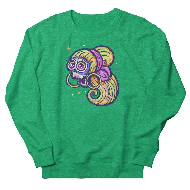 Skull with Blonde Wig and Pink Bandana Women's Sweatshirt by Illustrator and Designer Alan Defibaugh