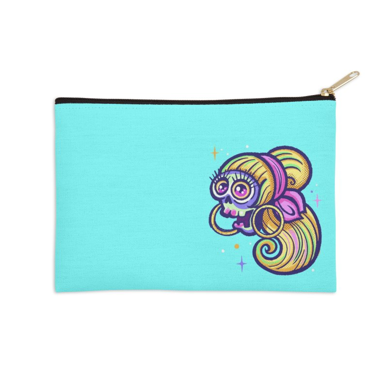 Skull with Blonde Wig and Pink Bandana Accessories Zip Pouch by Illustrator and Designer Alan Defibaugh