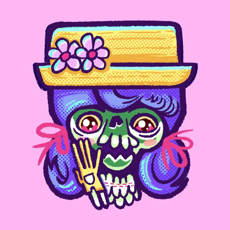 Skull with Purple Wig and a Yellow Hat Men's Tank by Illustrator and Designer Alan Defibaugh