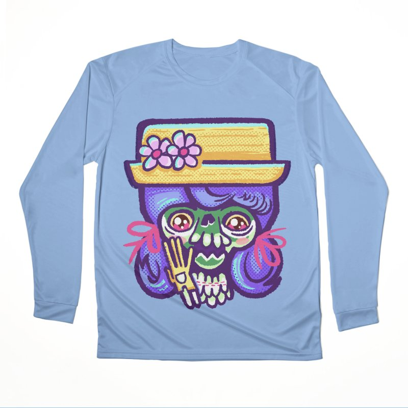 Skull with Purple Wig and a Yellow Hat Women's Longsleeve T-Shirt by Illustrator and Designer Alan Defibaugh