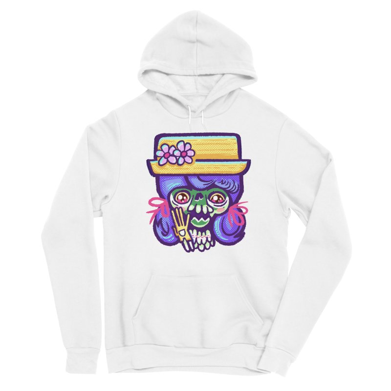 Skull with Purple Wig and a Yellow Hat Men's Pullover Hoody by Illustrator and Designer Alan Defibaugh
