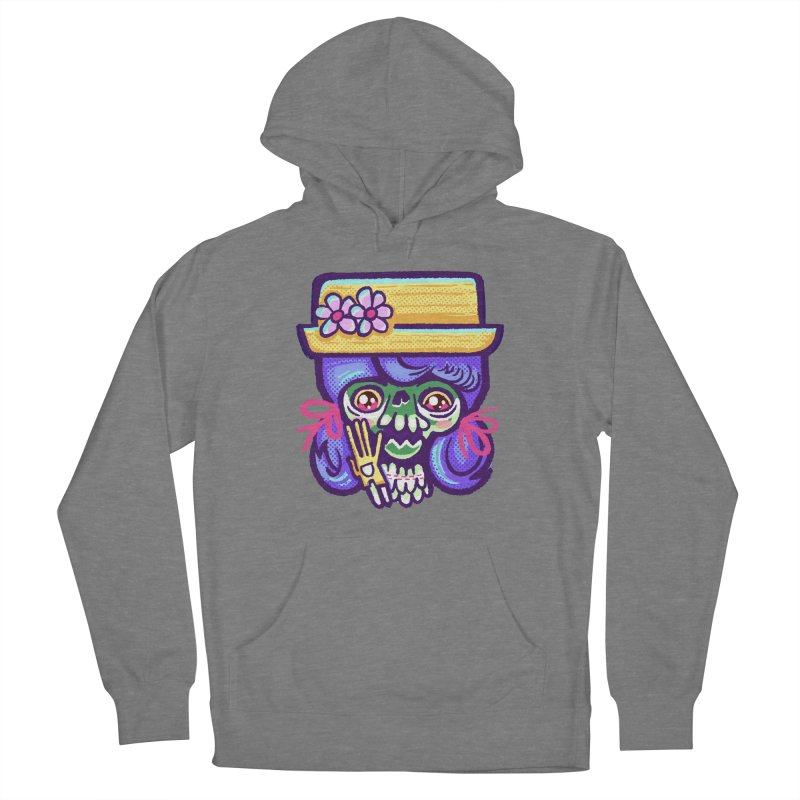 Skull with Purple Wig and a Yellow Hat Women's Pullover Hoody by Illustrator and Designer Alan Defibaugh