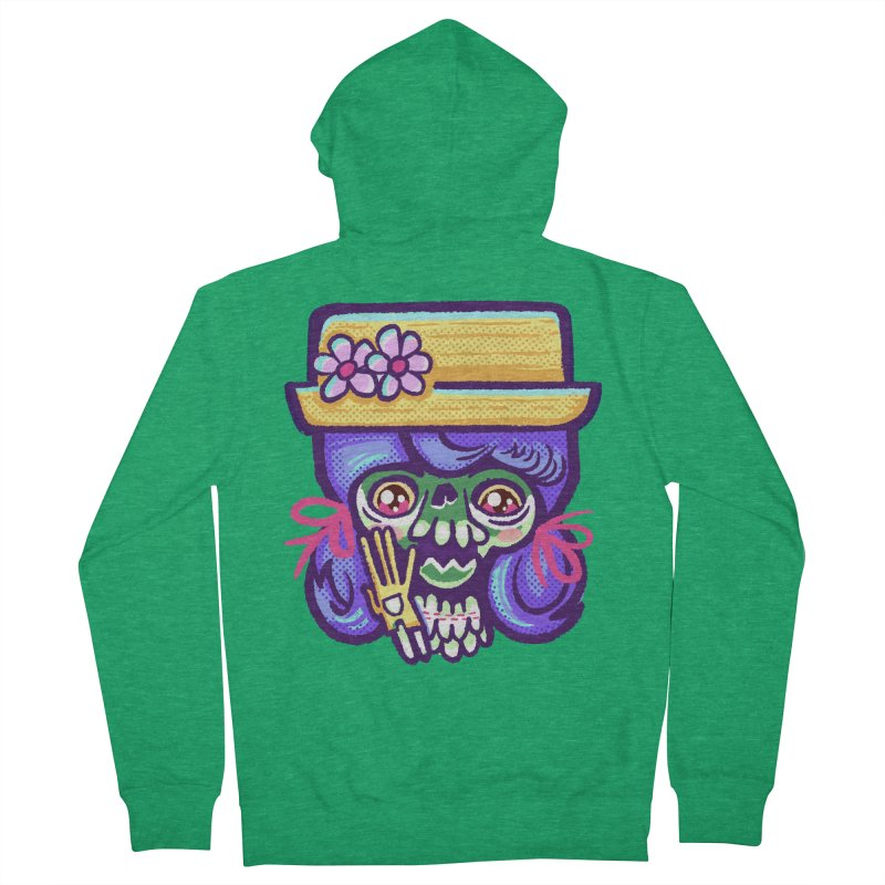 Skull with Purple Wig and a Yellow Hat Men's Zip-Up Hoody by Illustrator and Designer Alan Defibaugh
