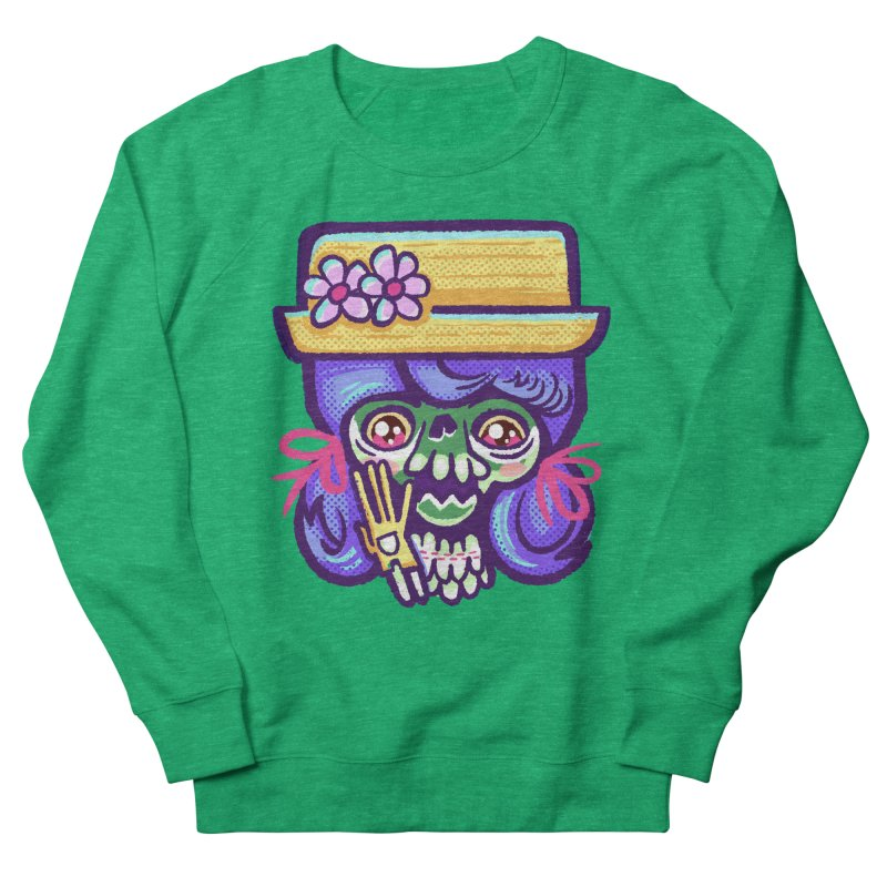 Skull with Purple Wig and a Yellow Hat Women's Sweatshirt by Illustrator and Designer Alan Defibaugh