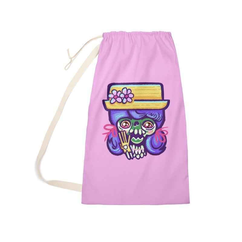 Skull with Purple Wig and a Yellow Hat Accessories Bag by Illustrator and Designer Alan Defibaugh