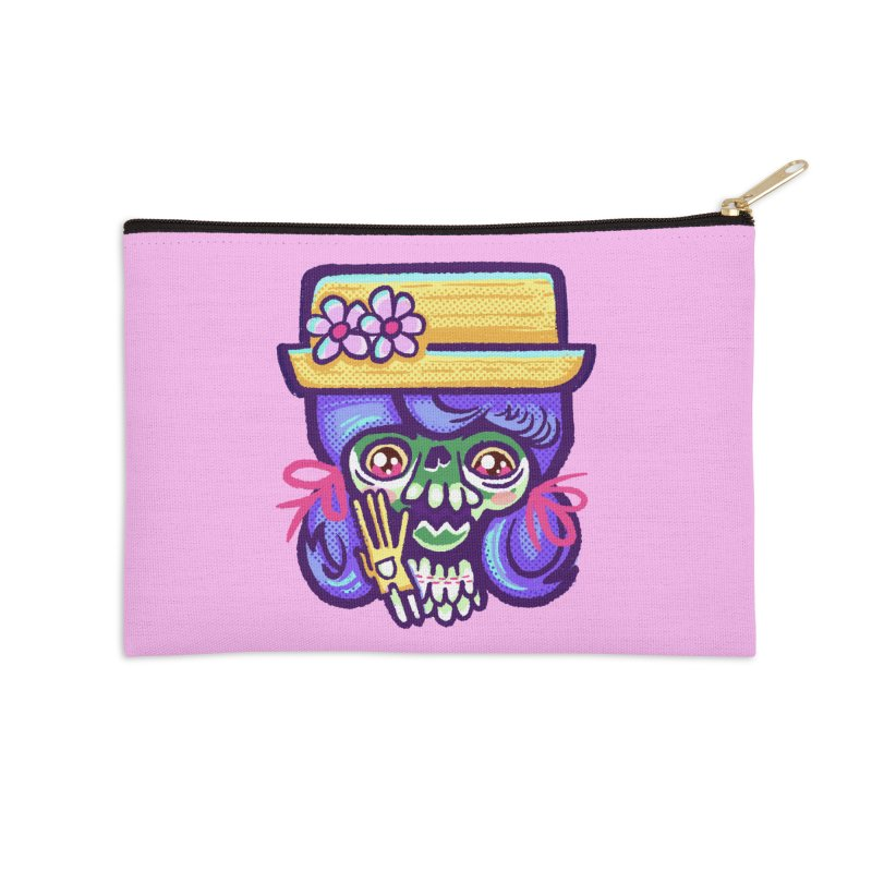 Skull with Purple Wig and a Yellow Hat Accessories Zip Pouch by Illustrator and Designer Alan Defibaugh
