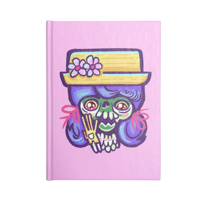 Skull with Purple Wig and a Yellow Hat Accessories Notebook by Illustrator and Designer Alan Defibaugh