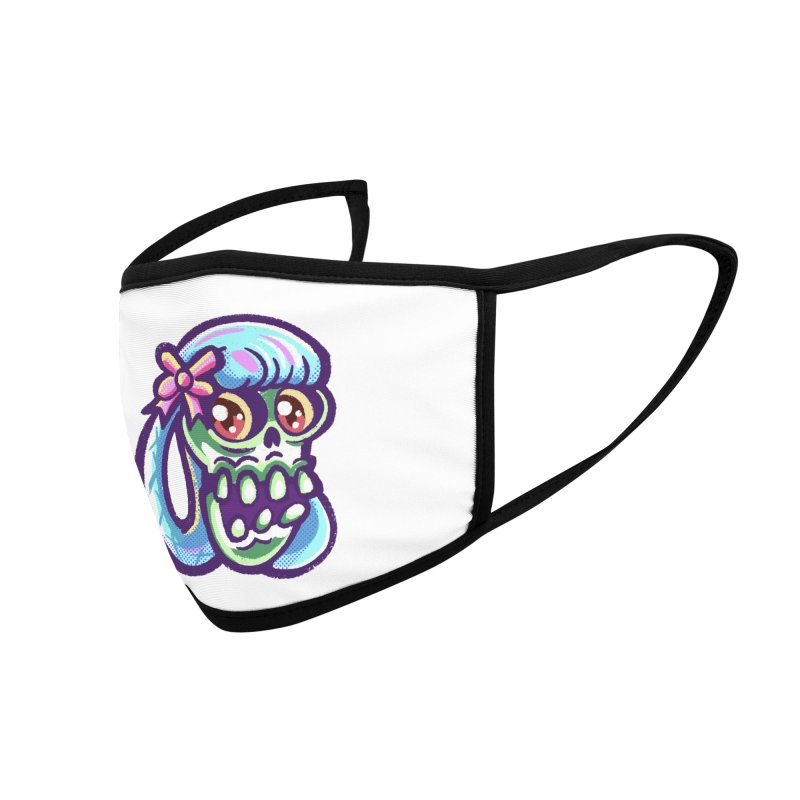 Skull with Pretty Blue Braids and a Pink Bow Accessories Face Mask by Illustrator and Designer Alan Defibaugh