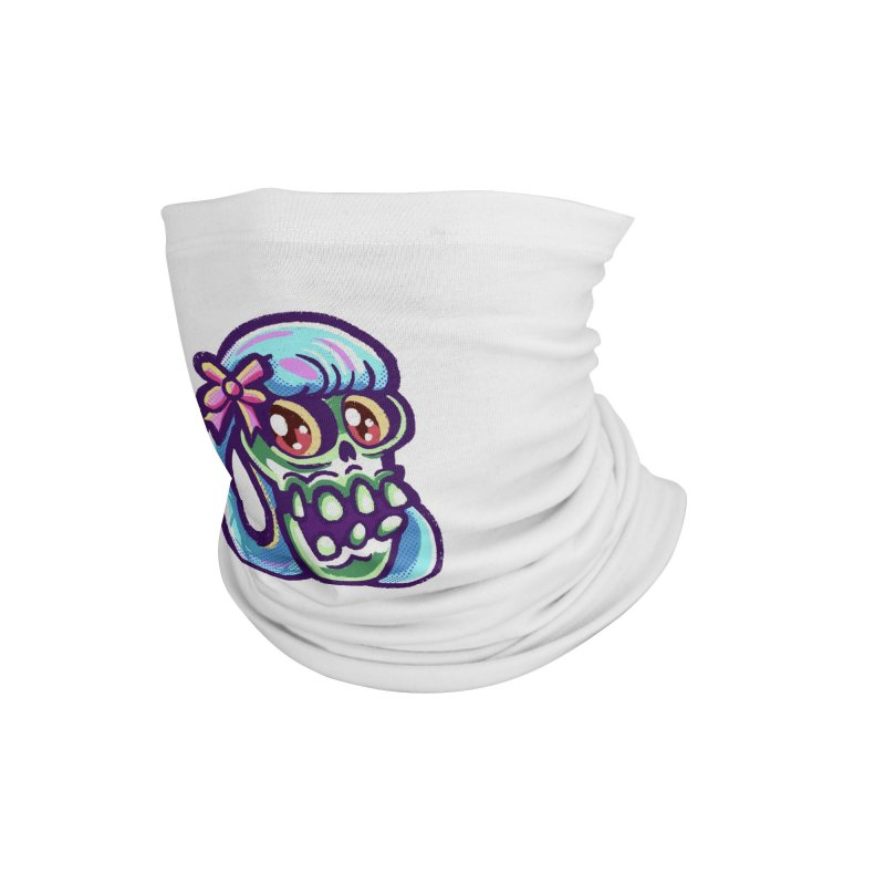 Skull with Pretty Blue Braids and a Pink Bow Accessories Neck Gaiter by Illustrator and Designer Alan Defibaugh