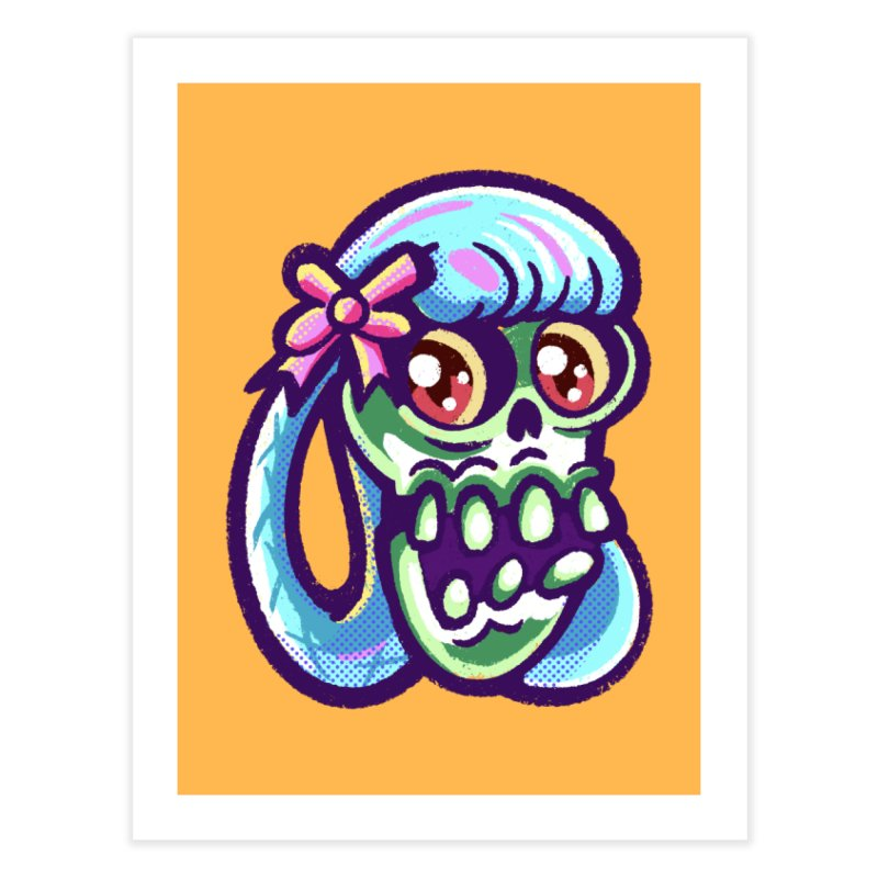 Skull with Pretty Blue Braids and a Pink Bow Home Fine Art Print by Illustrator and Designer Alan Defibaugh