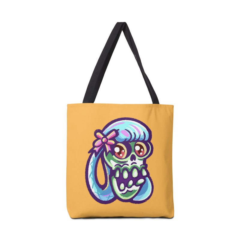 Skull with Pretty Blue Braids and a Pink Bow Accessories Bag by Illustrator and Designer Alan Defibaugh