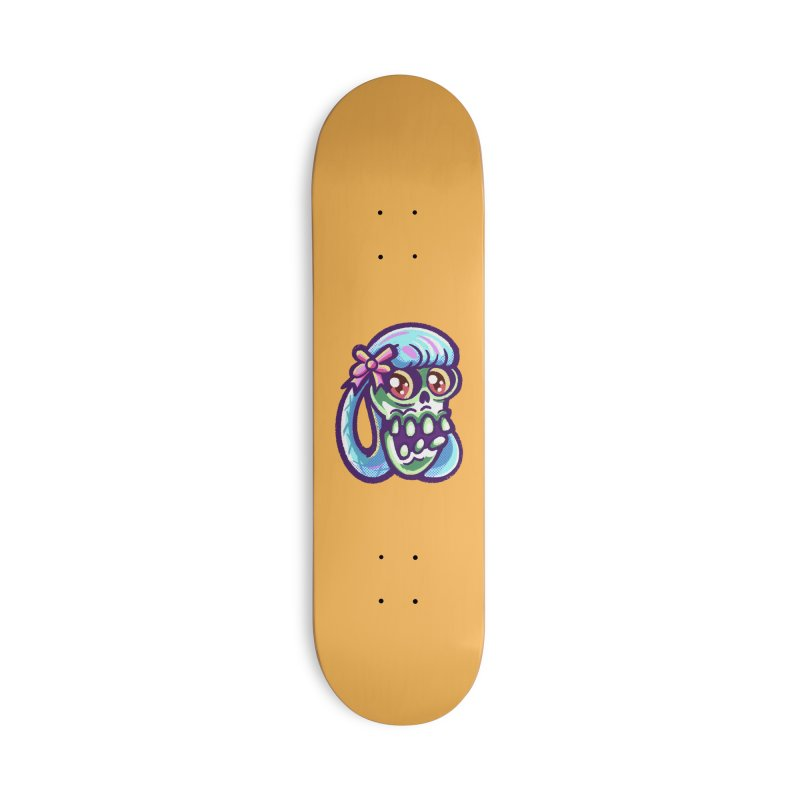 Skull with Pretty Blue Braids and a Pink Bow Accessories Skateboard by Illustrator and Designer Alan Defibaugh
