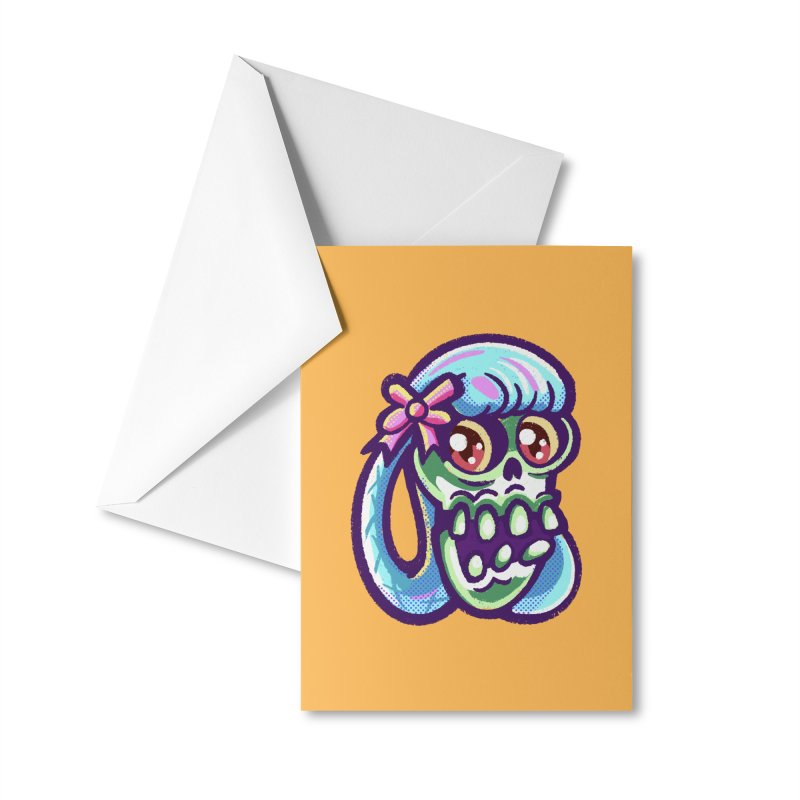 Skull with Pretty Blue Braids and a Pink Bow Accessories Greeting Card by Illustrator and Designer Alan Defibaugh