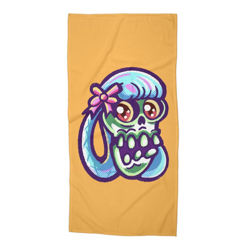 Skull with Pretty Blue Braids and a Pink Bow Accessories Beach Towel by Illustrator and Designer Alan Defibaugh