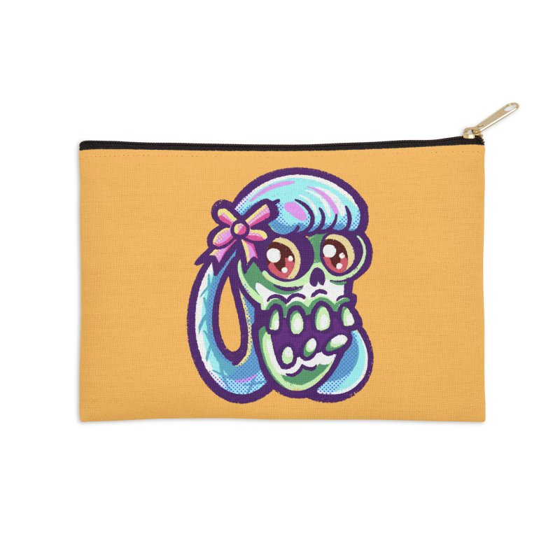 Skull with Pretty Blue Braids and a Pink Bow Accessories Zip Pouch by Illustrator and Designer Alan Defibaugh