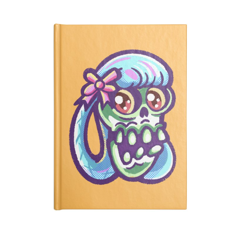 Skull with Pretty Blue Braids and a Pink Bow Accessories Notebook by Illustrator and Designer Alan Defibaugh