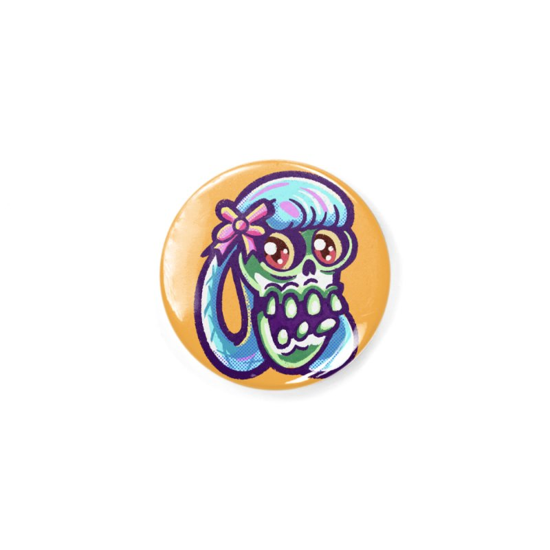Skull with Pretty Blue Braids and a Pink Bow Accessories Button by Illustrator and Designer Alan Defibaugh