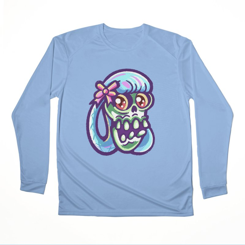 Skull with Pretty Blue Braids and a Pink Bow Women's Longsleeve T-Shirt by Illustrator and Designer Alan Defibaugh
