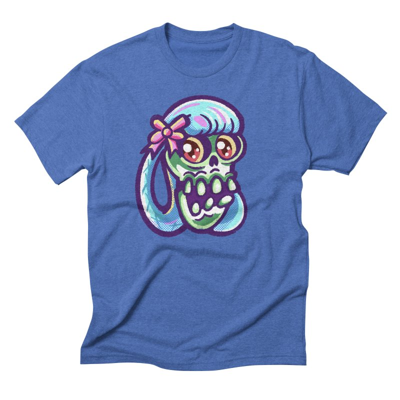 Skull with Pretty Blue Braids and a Pink Bow Men's T-Shirt by Illustrator and Designer Alan Defibaugh