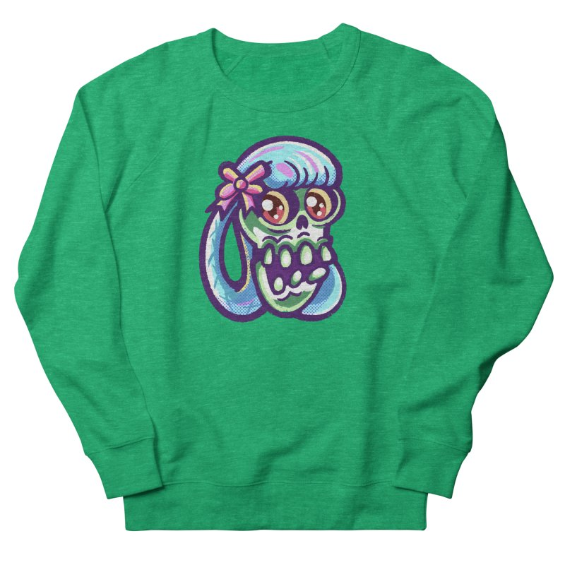 Skull with Pretty Blue Braids and a Pink Bow Women's Sweatshirt by Illustrator and Designer Alan Defibaugh