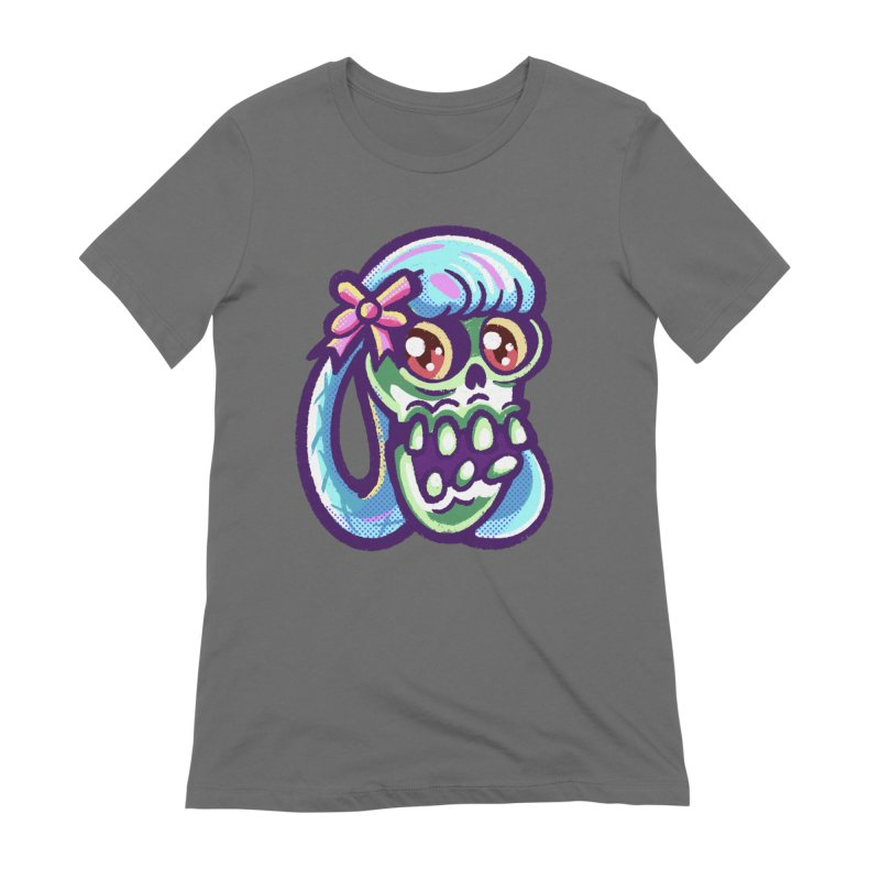 Skull with Pretty Blue Braids and a Pink Bow Women's T-Shirt by Illustrator and Designer Alan Defibaugh