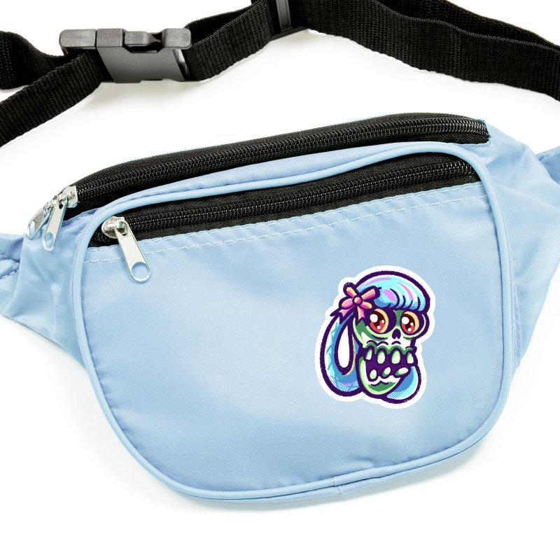 Skull with Pretty Blue Braids and a Pink Bow Accessories Sticker by Illustrator and Designer Alan Defibaugh