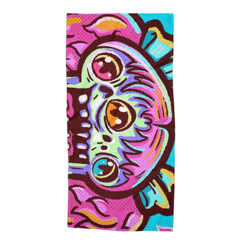 Conjoined Skull with Pink Hair and Bows Accessories Beach Towel by Illustrator and Designer Alan Defibaugh
