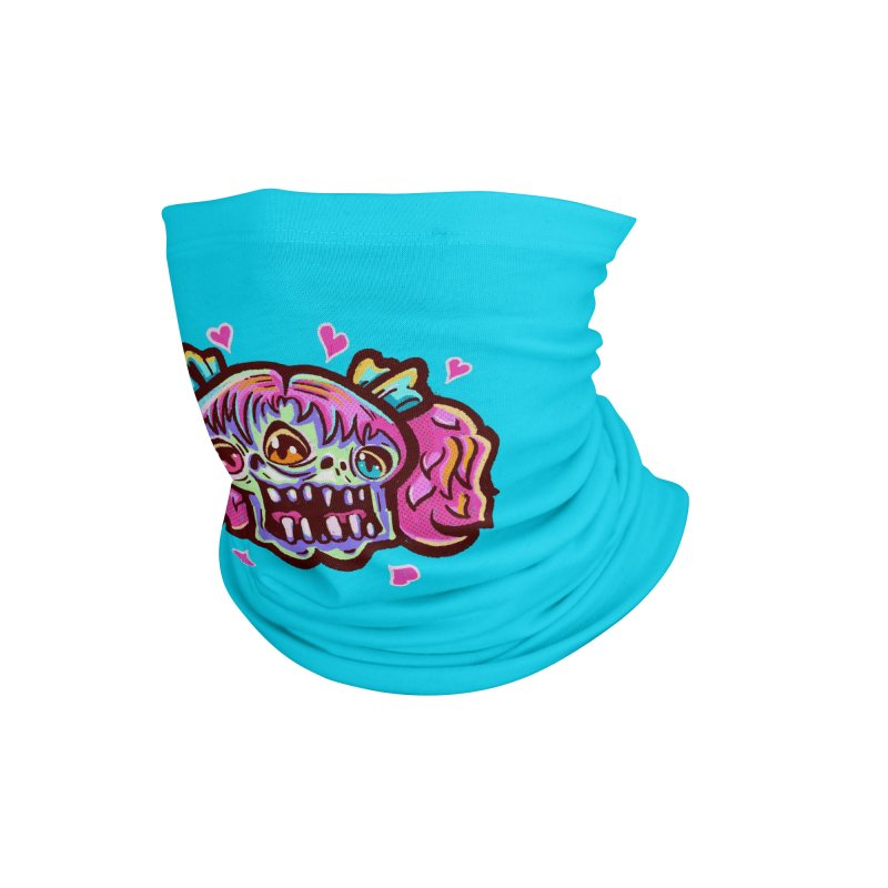 Conjoined Skull with Pink Hair and Bows Accessories Neck Gaiter by Illustrator and Designer Alan Defibaugh