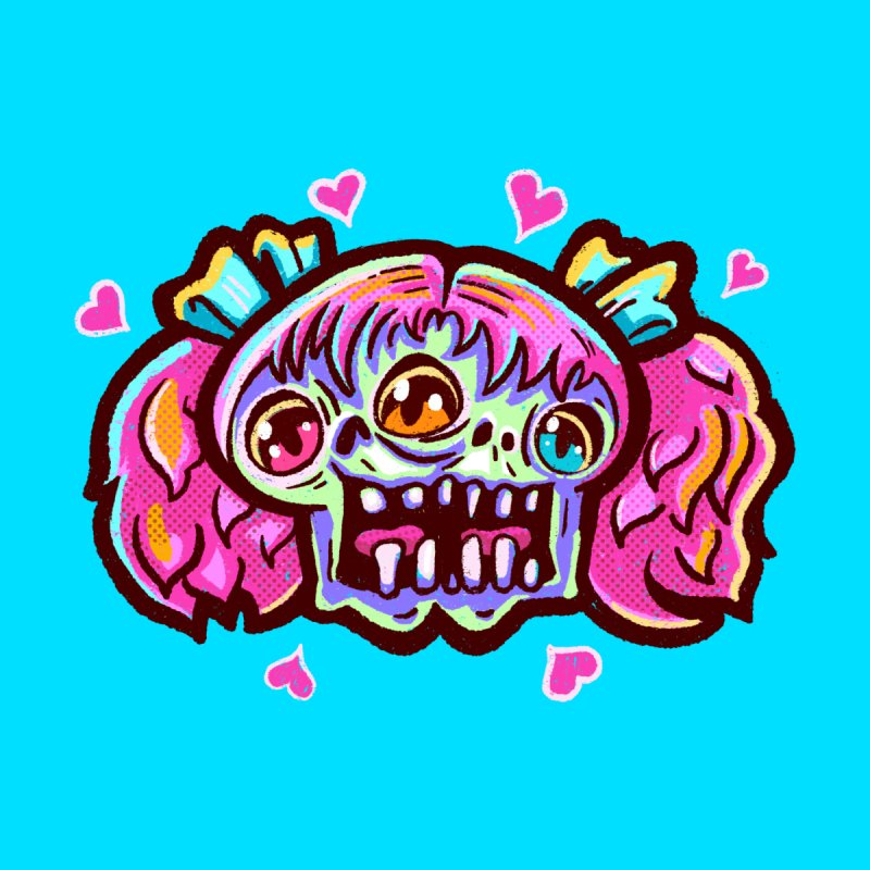 Conjoined Skull with Pink Hair and Bows Accessories Skateboard by Illustrator and Designer Alan Defibaugh