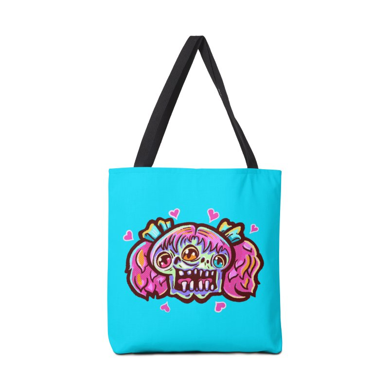 Conjoined Skull with Pink Hair and Bows Accessories Bag by Illustrator and Designer Alan Defibaugh