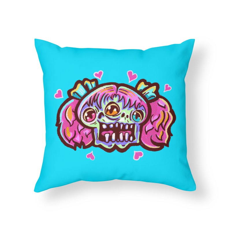 Conjoined Skull with Pink Hair and Bows Home Throw Pillow by Illustrator and Designer Alan Defibaugh
